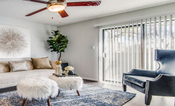 Sofa And Ceiling Fan in Living Room at 5Fifty Apartments, Texas, 78232