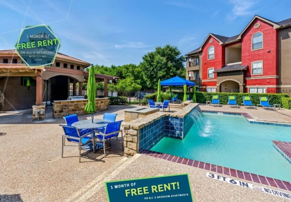 Swimming pool at Hidden Creek showcasing new move in special for 1 month free rent on all 2 bedroom floor plans
