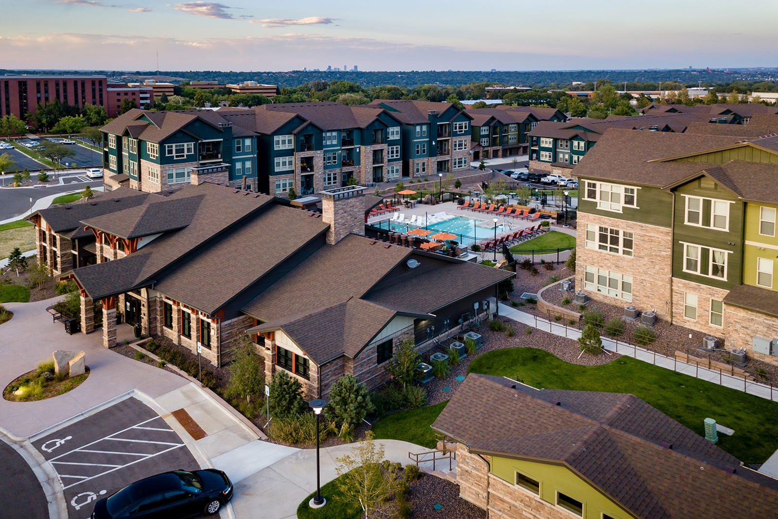 Aerial view of community at Windsor at Pinehurst, Lakewood, CO