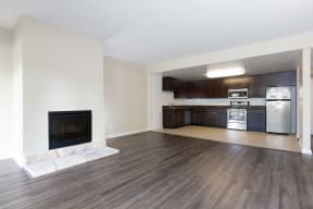 Living area with fireplace and kitchen