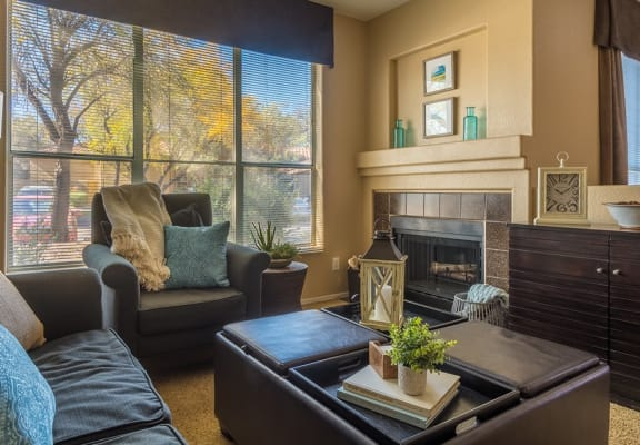 Living room at Bear Canyon Apartments in Tucson, AZ