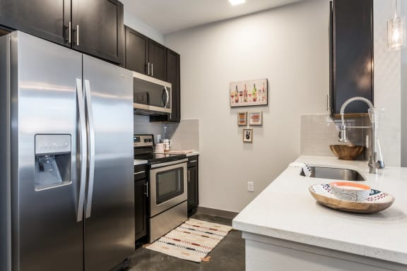 Upscale Stainless Steel Kitchen Appliances with Double Door Refrigerator at Azure Houston Apartments, Houston, TX