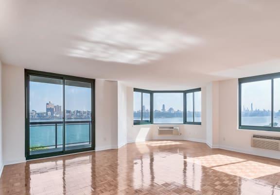 Large, panoramic windows at Windsor at Mariners, 100 Tower Dr., 07020
