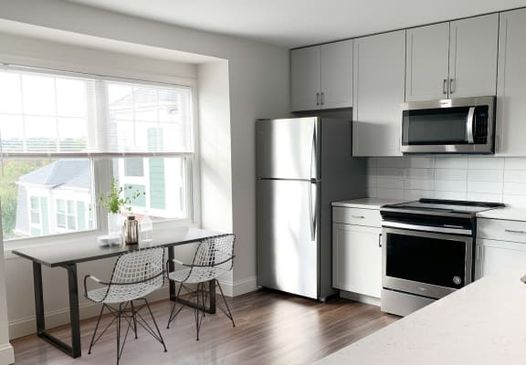 Modern kitchen at Windsor Village at Waltham, Waltham, MA