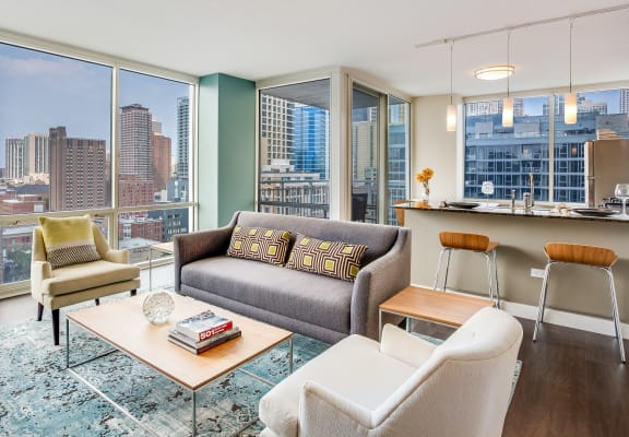 Open layout apartment at Flair Tower Apartments, 222 W Erie St, Illinois