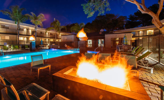 Pool and firepit at Treehouse Apartments in Tucson AZ