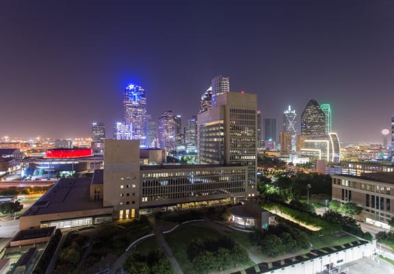 Aerial view of park at night at The Jordan by Windsor, Dallas, Texas