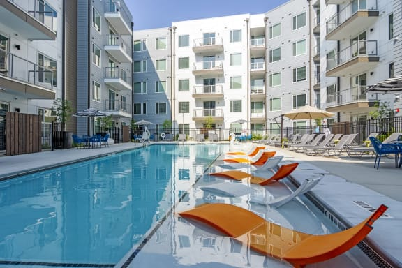 Swimming Pool With Relaxing Sundecks at Spoke Apartments, Georgia, 30307