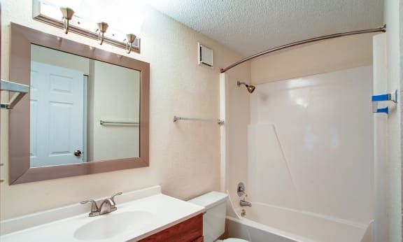 Bathroom with tub/shower combo, large mirror and vanity.