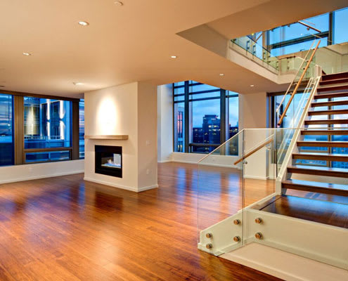 Penthouse stairs at The Bravern, WA, 98004