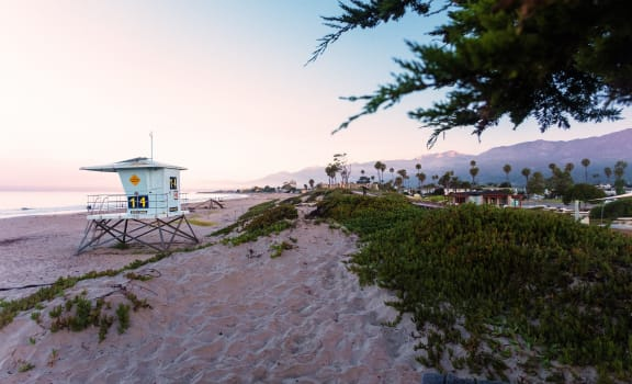 lifeguard station at the carpinteria beach by Shepard Place Apartments