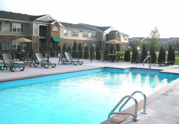 Pool with sundeck at Hoosier Woods Apartments