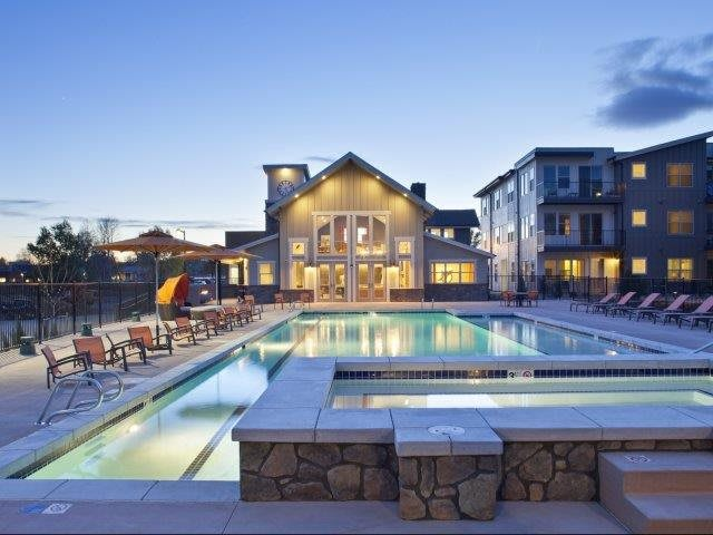 1724 Steel Street Louisville, CO apartments  l North Main at Steel Ranch l Pool and lounge chairs