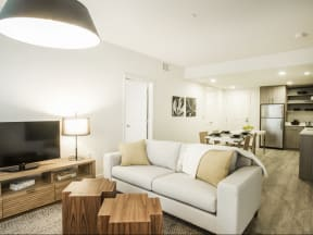 Clubhouse Seating with TV Apartments in San Mateo| Mode Apartments