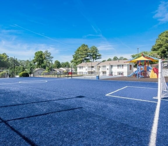 Community soccer field and playground