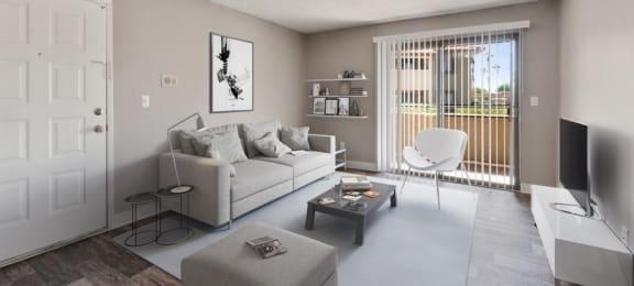 Model Living Room with Sliding Door to Patio