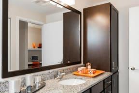 Spacious bathroom at 2828 Zuni Apartments in LoHi