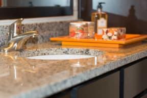Granite counter tops in Bathroom   2828 Zuni Apartments