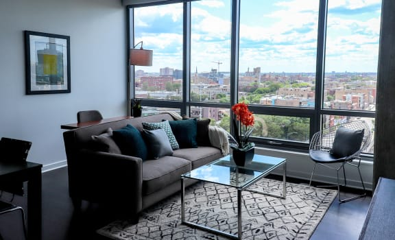 Furnished Living Room at Reside on Green Street Apartments, 504 N Green St, 60642