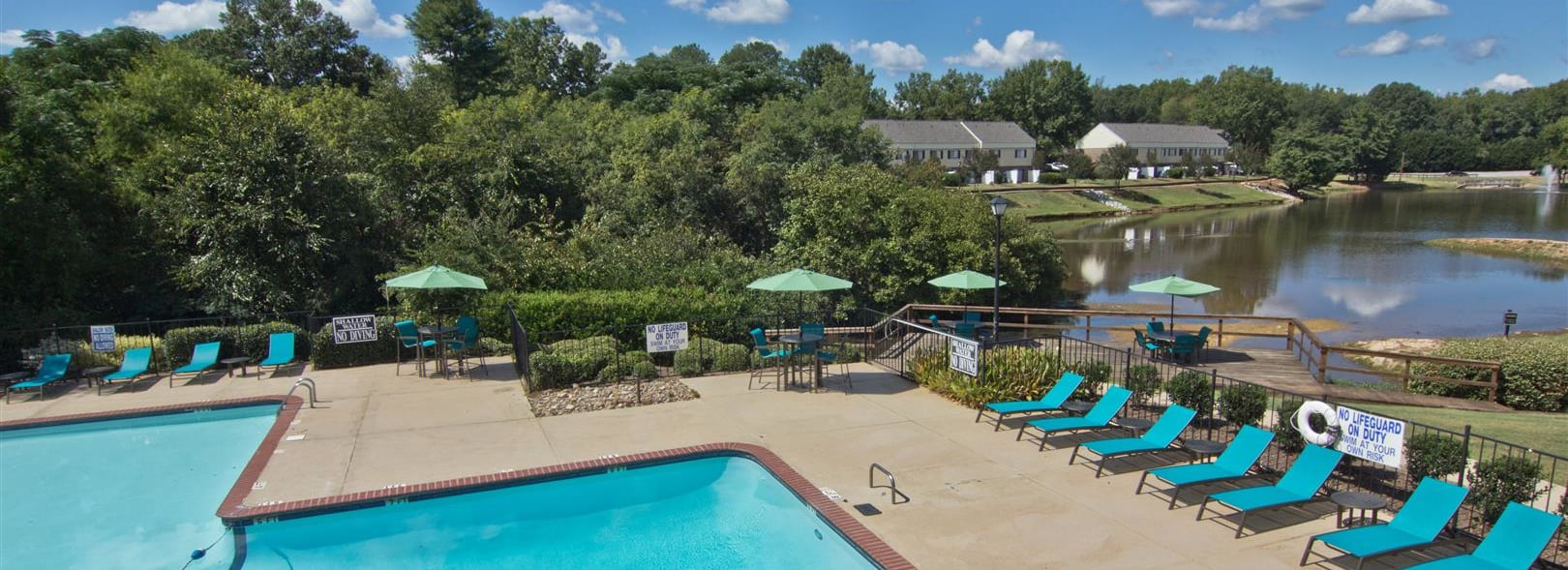 Pool view at Lakecrest Apartments in Greenville SC