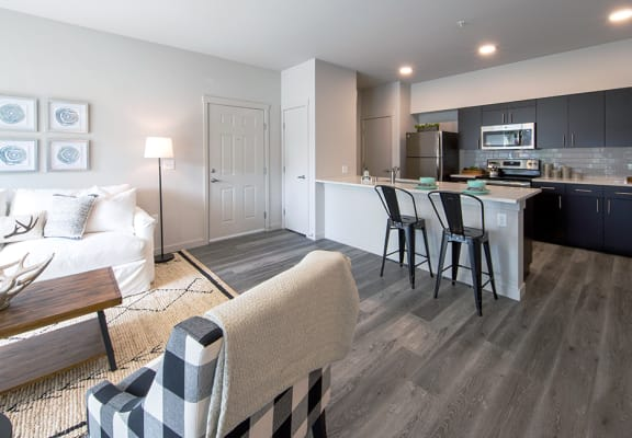 open living room and kitchen at Hearth Apartment Homes in Vancouver, WA