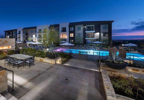 Pool at night at Windsor Oak Hill, Austin, TX