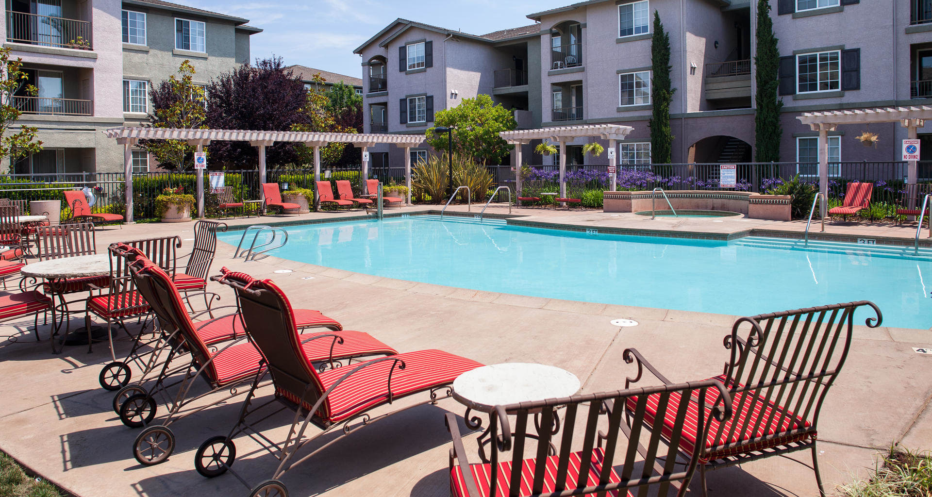 Pool side at Sterling Village Apartments, Vallejo, CA, 94590