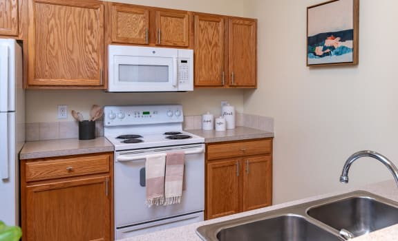 view from pass through window into kitchen. Light brown cabinetry, white modern appliances include a refrigerator, built in microwave and stove. Dishwasher and sink located underneath pass through win