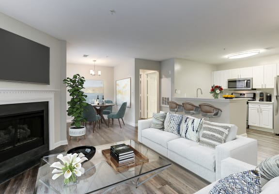 Living Room With Kitchen View at Westerly at Worldgate, Herndon