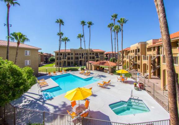 Pool, pool patio & spa at Zona Rio Apartments in Tucson, AZ