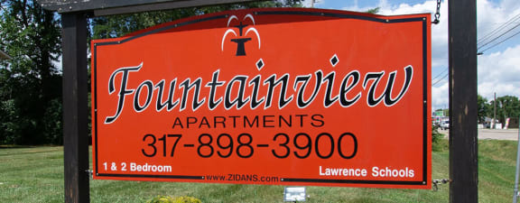 Welcoming Property Signage at Fountainview Apartments, Indianapolis, Indiana