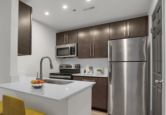 Newly Refurbished Kitchen and Cabinetry at Sundance Apartments, Indianapolis, IN