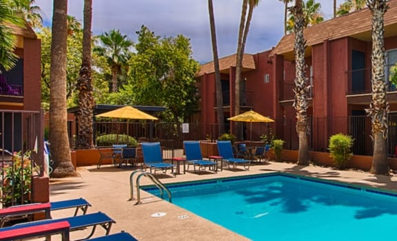 Sparkling Swimming Pool at Fountain Plaza Apartments, Tucson, 85712