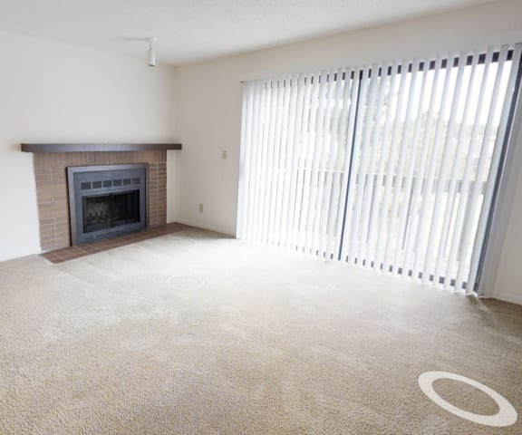 Spacious Living Area with Fireplace Candlewyck Apartments in Kalamazoo, Michigan