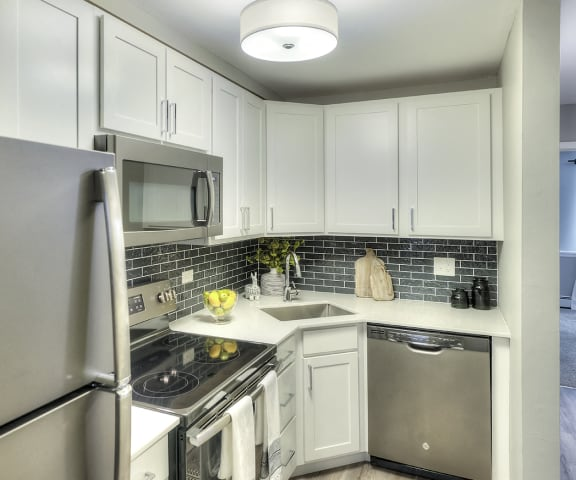 Modern Kitchen with Stainless Steel Appliances - Eagle Creek Apartments