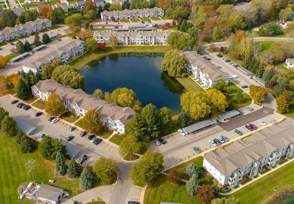 Aerial View of Property at Byron Lakes Apartments, Michigan