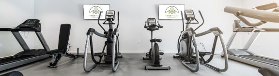 Fitness center at Treehouse Apartments in Tucson AZ August 2020