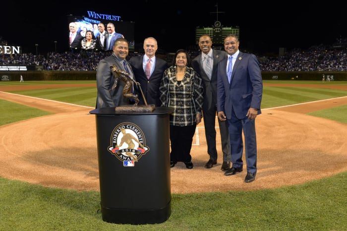 The Roberto Clemente Award is announced