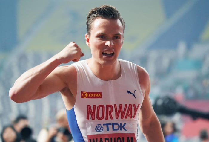 Men's 400-meter hurdles: Rai Benjamin (USA) vs. Karsten Warholm (Norway)