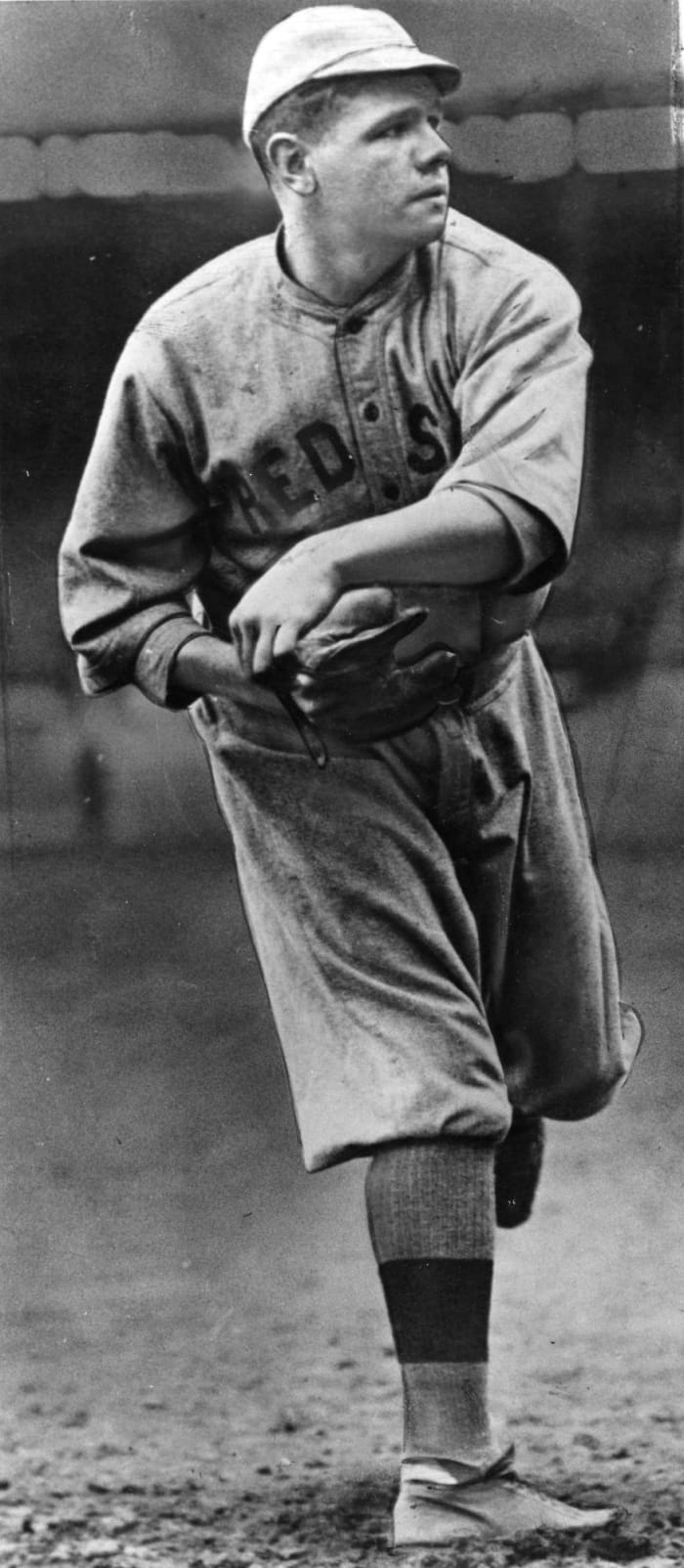 Ruth pitches his first game for Boston