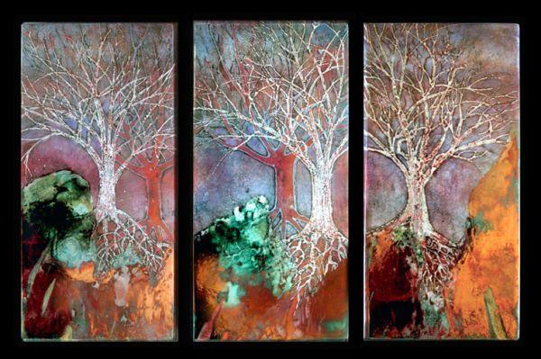 Raku tree triptych