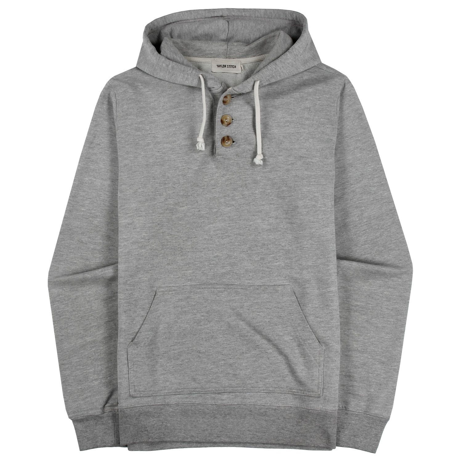 Heather Grey 3 Button Hooded Sweatshirt