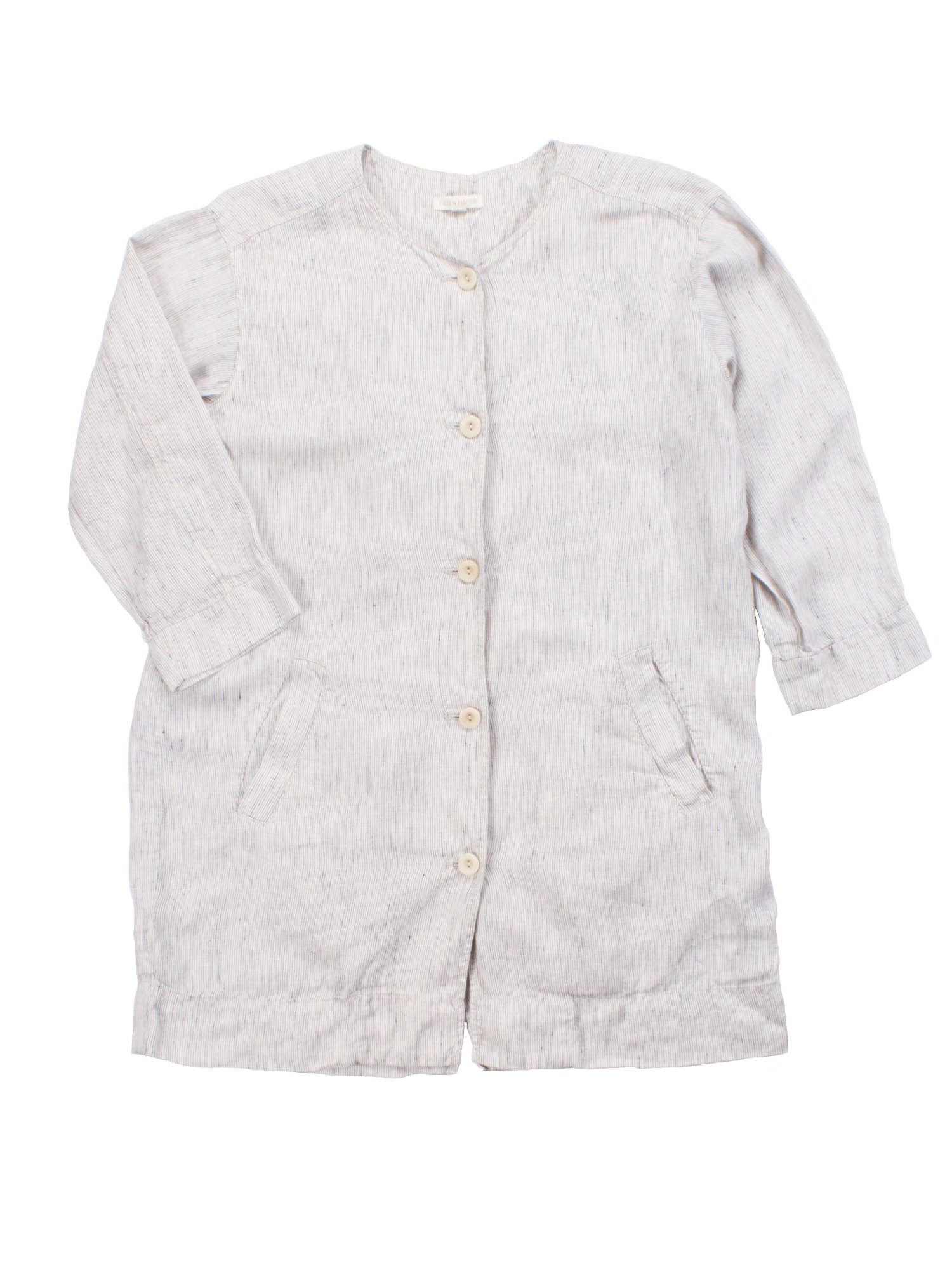 Slub Stripe Organic Linen Jacket