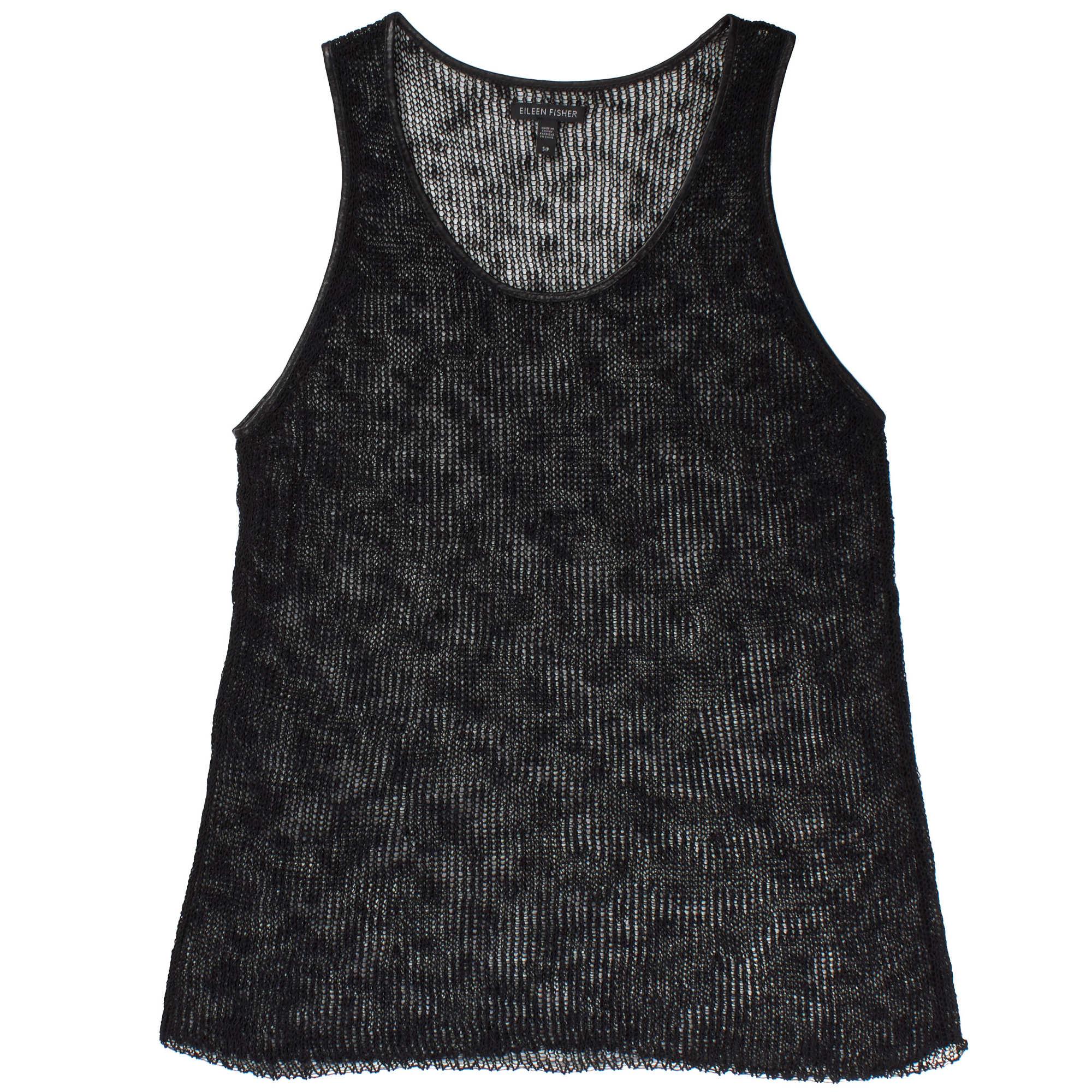 Airy Mélange Linen Grain W/ Leather Trim Pullover