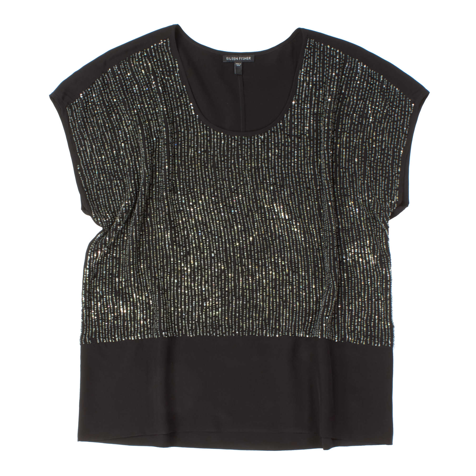Sequined Rivulet On Silk Crepe De Chine Blouse