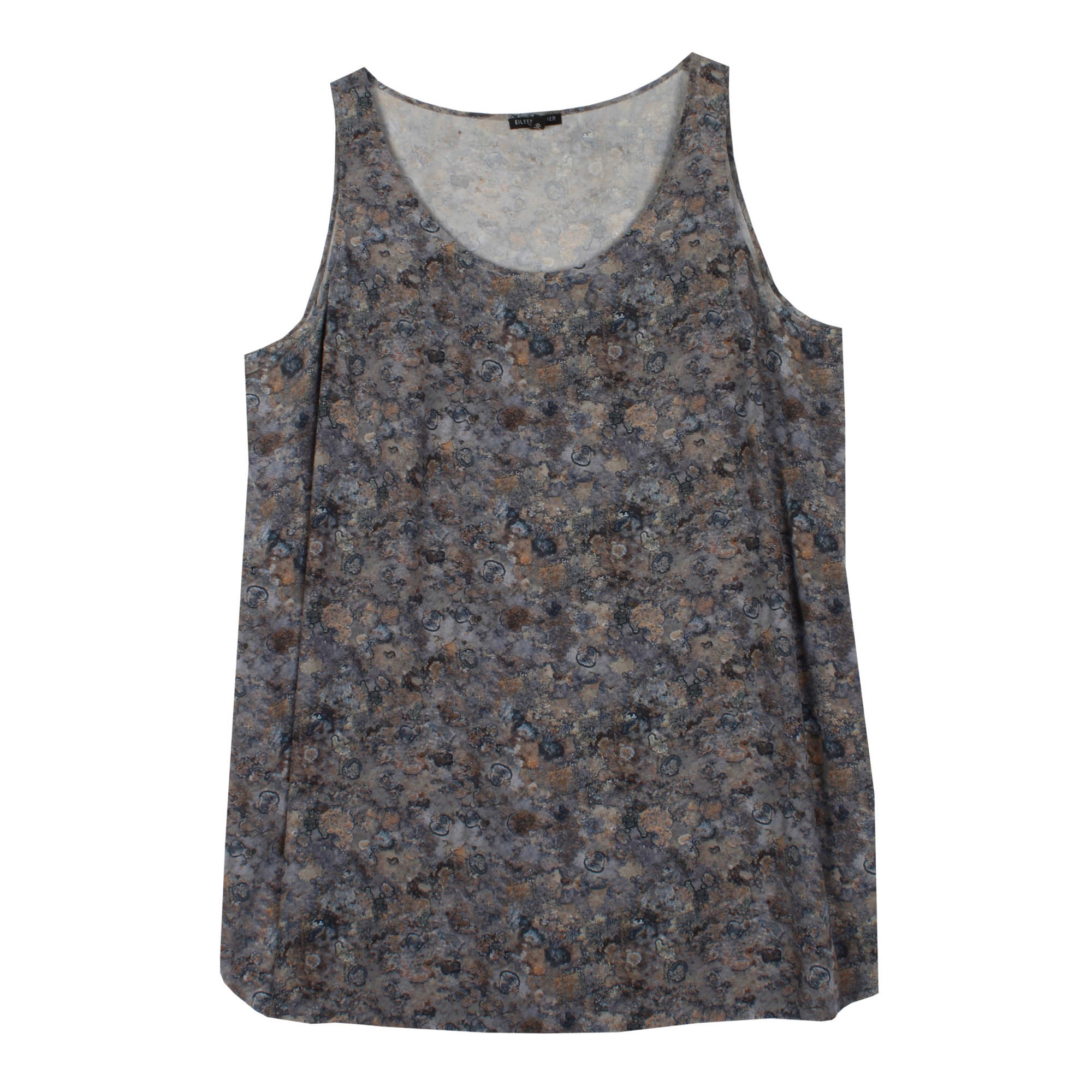 Icelandic Print on Silk Crepe de Chine Tank