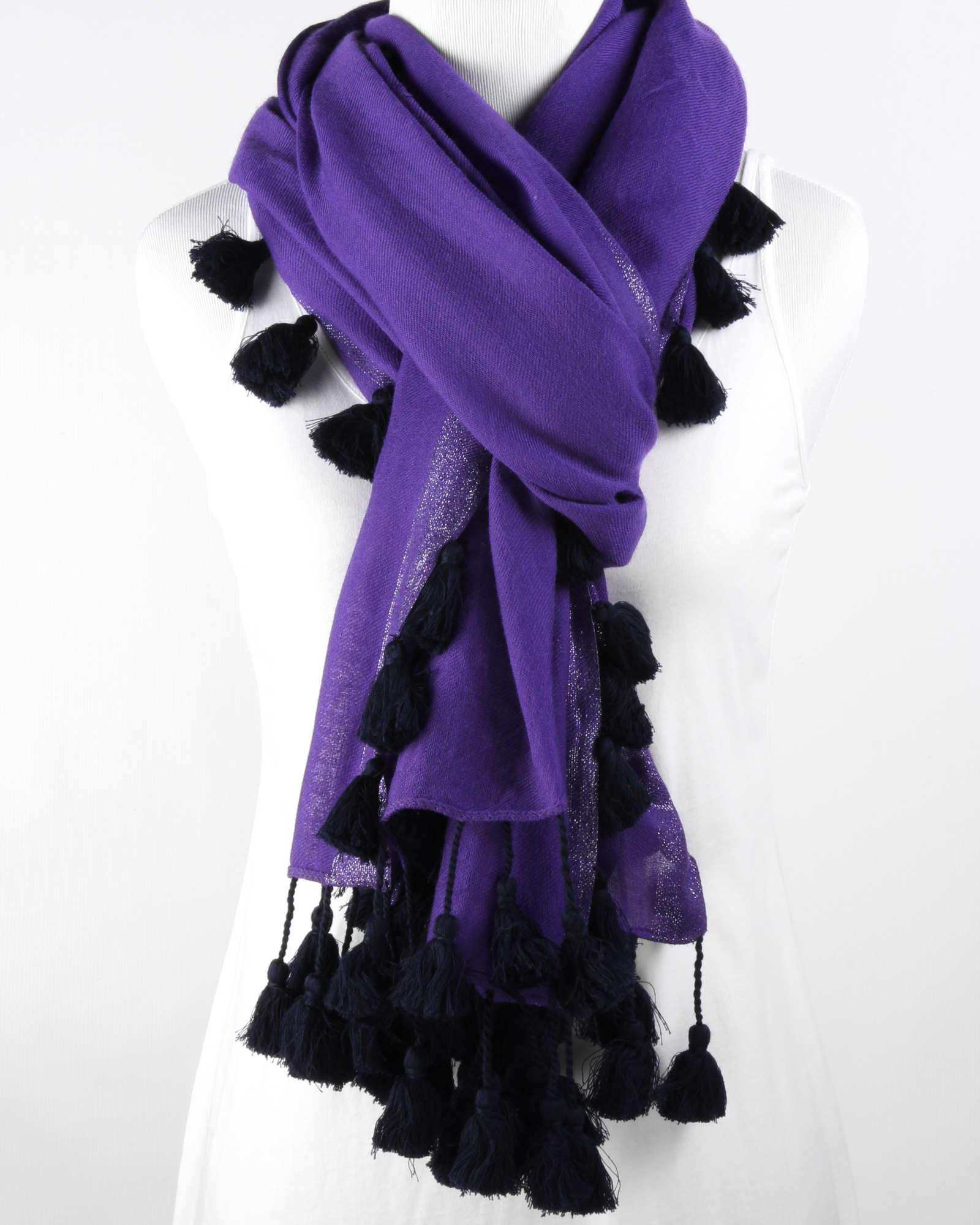 Tassled Shimmer Wool Scarf