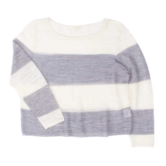 Striped Sheer Linen Bouclé Pullover
