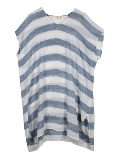 Striped Organic Linen Crinkle Gauze Tunic