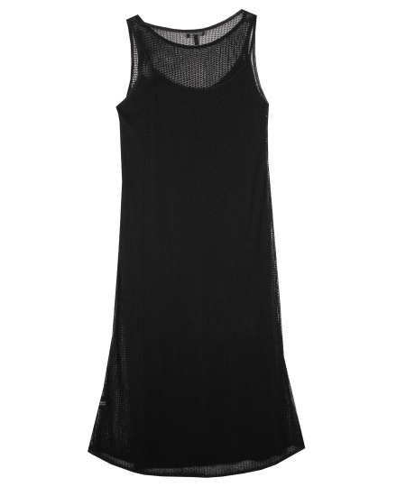 Rayon Nylon Crinkle Mesh Dress